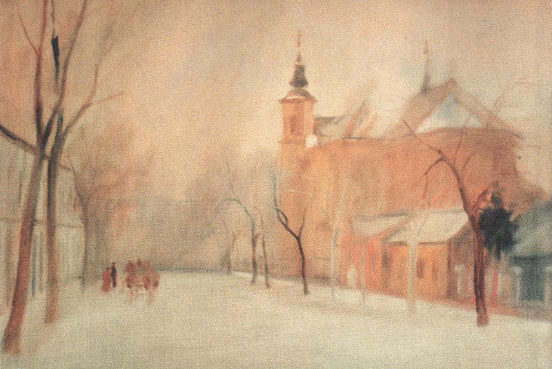 7 Kristofi Janos, Peisaj oradean, strada Spitalului, ulei pe carton, 39 x 56 cm, 1958, colectia artistului