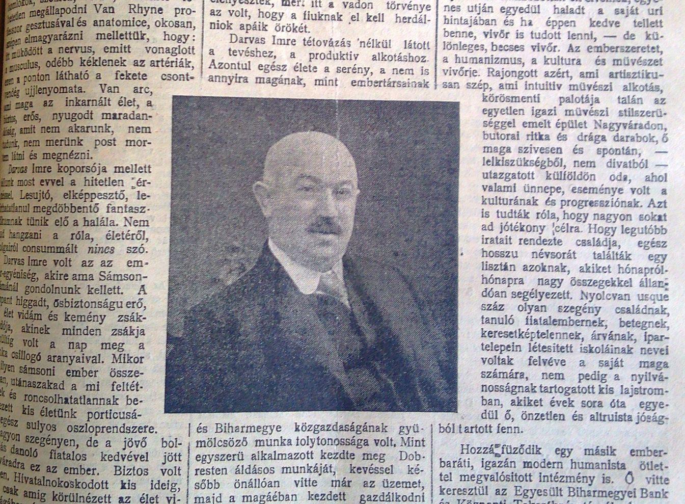 Darvas Imre portréja a Nagyváradi Napló 1913. május 8-i címoldalán, a halála utáni egész oldalas búcsúztató írásban elhelyezve